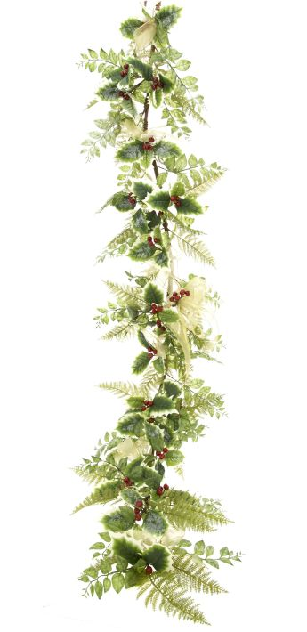 FESTIVE HOLLY GARLAND 6'