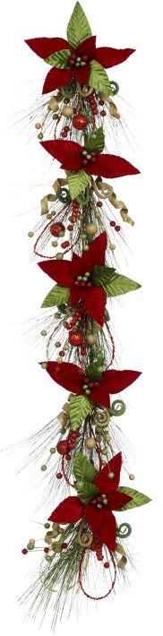 POINSETTIA GARLAND 5FT