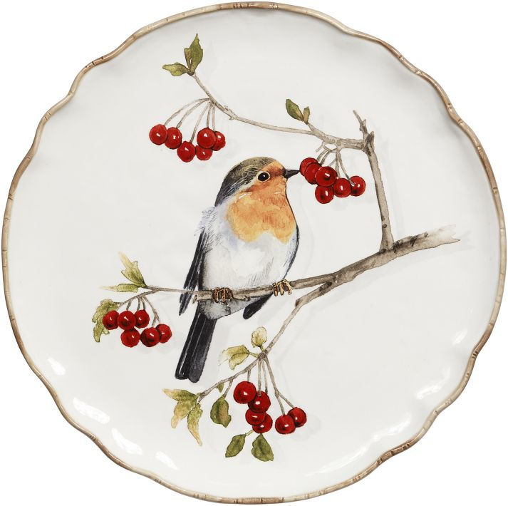 PLATE W/BIRD DECOR 12''